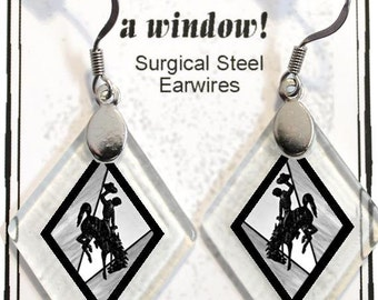 "Earrings ""Wyoming Bucking Horse & Rider(TM) in Black"" from rescued, repurposed window glass~Licensed Product"