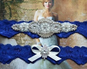 Wedding Garter Set, Bridal Garter Set, Something Blue, Royal Blue Lace Garter, Violet Style 10355
