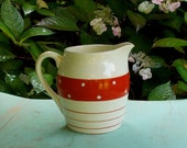 Vintage English Pottery Milk Jug - Red and White Pitcher - Polka Dots and Stripes - Kirkham Pottery - Cottage, Farm, Country Kitchen