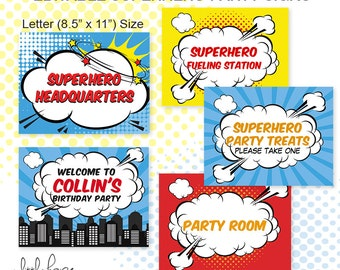 Superhero EDITABLE Party Signs - Instant Download - PDF file with editable text