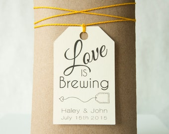 Love is Brewing Wedding Favor Tag, Bridal Shower Tag, Wedding Color Tag,  Tea Favor Tag