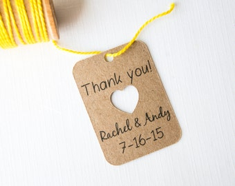Thank You Heart Cut Out Tag, Wedding Favor Thank You Tags, Bridal Shower Favor Tags, Engagement Party Tags, Wedding Date