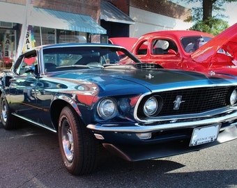 Ford 69 Mach 1 Mustang Right Front Blue HD Poster Muscle Car Print
