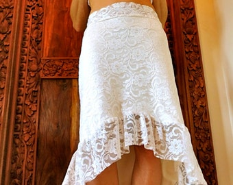 Stunning Ivory Lace Skirt with High-Low Hem and Full Ruffle in Small/Medium