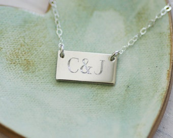Initials Necklace - Sterling Silver Bar Necklace - Custom Engraved Necklace - Gift For Her - Anniversary Gift