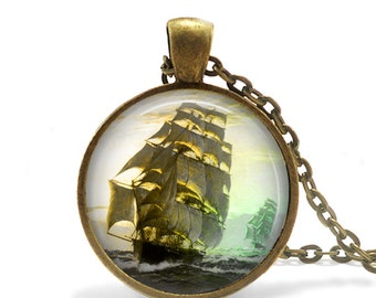 1600's Antique Bronze Sail Pirate Ship Jewelry Necklace, Ship Necklace, Nautical Necklace, Ocean Beach Pirate Jewelry Present Ship Necklace