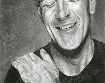 Bruce Willis 7.75x9.25 in. Graphite on Paper, 2010
