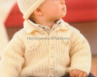 Baby Boy Child Jacket and Hat Knitting Pattern 16-24'' Vintage DK 8ply Boys Jacket Set Knitting Pattern Instant download PDF Pattern - 371