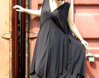 Extravagant Long Dress /Black Dress / Oversize Black dress/ Plus Size Black dress