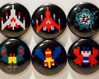 """Set of 6 Galaga 1"""" Pinback Buttons"""