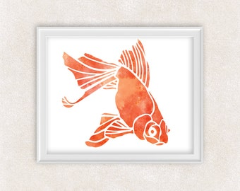 Goldfish Art - Watercolor Print - Fish Art Painting - Home Decor - Wall Art 8x10 PRINT - Item #720