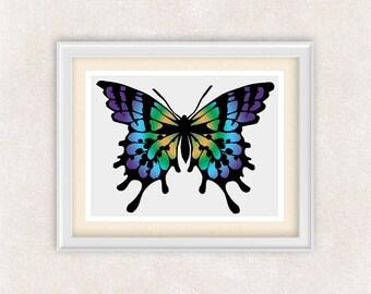 Purple Butterfly Art - 8x10 PRINT - Monarch Butterfly Silhouette Art Print in Purple, Blue, Green & Yellow - Item #547C