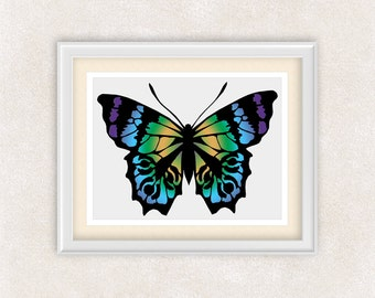 Colorful Butterfly Wall Decor - 8x10 Art Print - Home Decor - Kids Room - Girls Bedroom - Item #548A