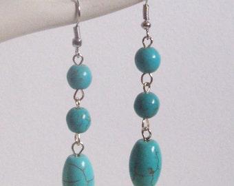 Howlite Turquoise Bead Earrings , Turquoise Earrings , Dangling Earrings , Beaded Earrings , Long Earrings , Handmade Jewelry