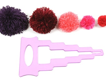 "PattieWack™ Pom Pom Maker lets you to create 6 SIZES of pompoms from 1-6"" wide, in 3 EASY STEPS! For yarn, floss, ribbon, tulle, anything!"