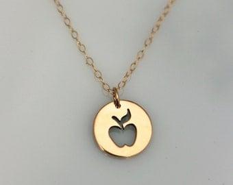 Gold Apple Teacher Necklace, Gold Teacher Appreciation Necklace, Apple Charm, Apple Cutout Pendant, Small Apple Silhouette Necklace