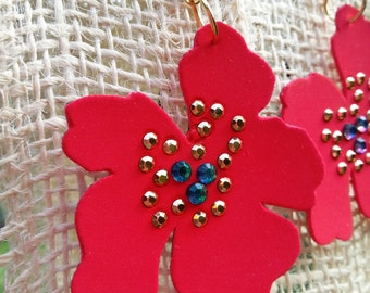 Flower leather earrings with crystal and studs
