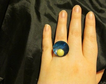 Moon Rising Upcycled Adjustable Ring - Repurpose, Hand Crafted, OOAK