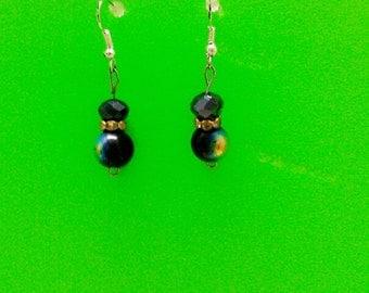Onyx & Metallic Beaded Earrings