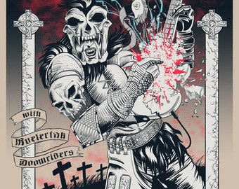 """High on Fire - Sauget IL 2013 18x24"""" gig poster by Ross Sewage HIGHLANDER"""