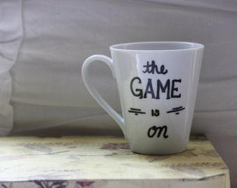 "Sherlock ""The Game Is On"" hand-painted coffee mug MADE TO ORDER"