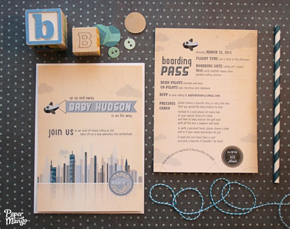 airplane baby shower invitations travel theme come, Baby shower invitations