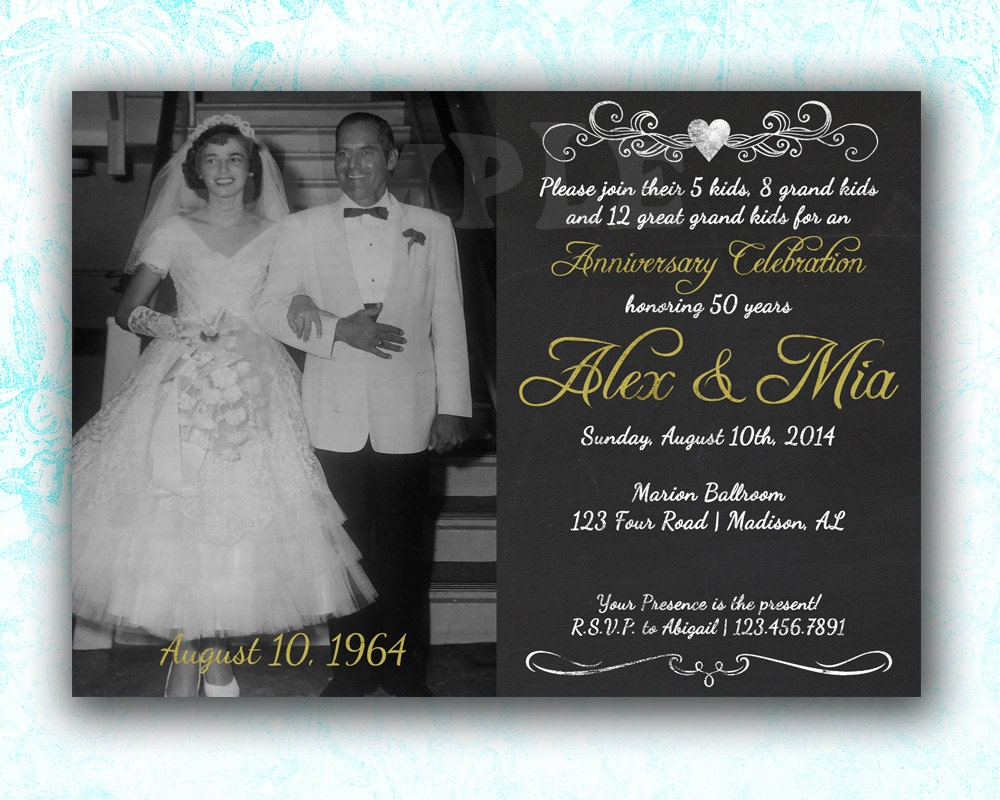 Fiftieth Wedding Anniversary Gifts: 50th Anniversary Invitation 50th Anniversary By