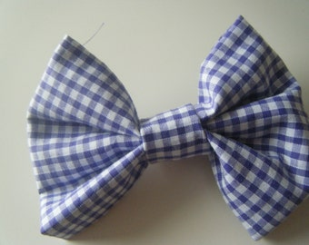 Purple Gingham Hair Bow