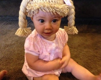 cabbage patch hat cabbage patch wig for child costume any color and size braids or