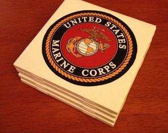 Set of 4 Handmade Tile Coasters: US Marine Corps