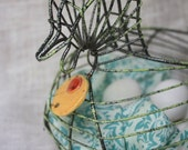 Egg Basket - Wire Chicken Basket - Hand Painted with clay medallion
