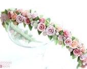 "Headband ""Morning in Paris"" floral flowers of polymer clay rusteam peachy pink beige green roses rustic wedding feminine swarowski bridal"
