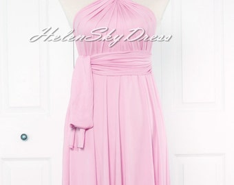 Convertible Infinity Full length Bridesmaids Dress in pink prom dress evening dress party dress