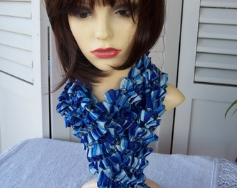 Hand Knitted Blue Samba Frilly Scarf - Free Shipping