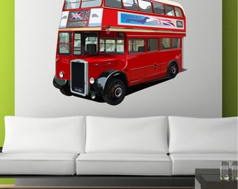 London Red Bus UK Transport Wall Art Sticker Mural Decal Graphic Lounge Bedroom Transfer Wall Stickers
