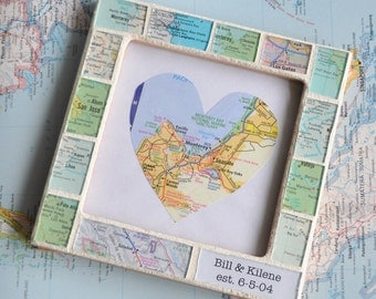 Personalized Anniversary Gift for Parents Map Gift Atlas Map Custom Text Photo Picture Frame