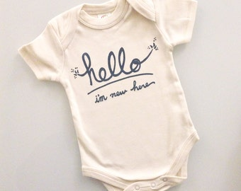Hello I'm New Here - funny baby shower gift (white and grey) by egg-a-go-go