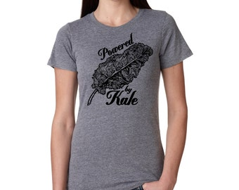 Womens Kale T-Shirt  - Screen Printed Ladies Vegan Clothing - Veggie - Powered by Kale Gray and Black Farmers Market Shirt