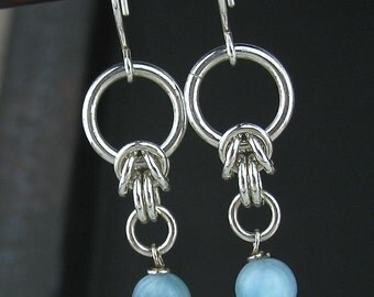 Blue Larimar Chainmaille Earrings, Blue Gemstone Earrings, Larimar Jewelry, Blue Stone Chain Jewelry, Larimar Chainmail Jewelry