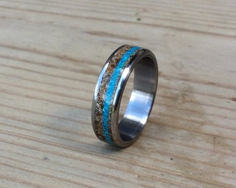 Titanium Ring, Wedding Ring, Tigers Eye Ring, Turquoise Ring, Mens Ring, Womens Ring, Mens Wedding Band, Wedding Band Set, Unique Ring