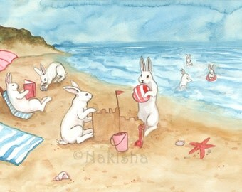 A Day at the Beach - Fine Art Rabbit Print