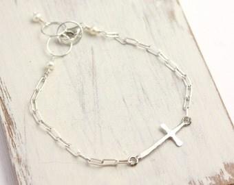 Sideways Cross  Bracelet Hammered Silver