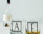 "MONOGRAM ""I"" GLASSWARE single inital letter ""i"", screen printed Rocks Glass"
