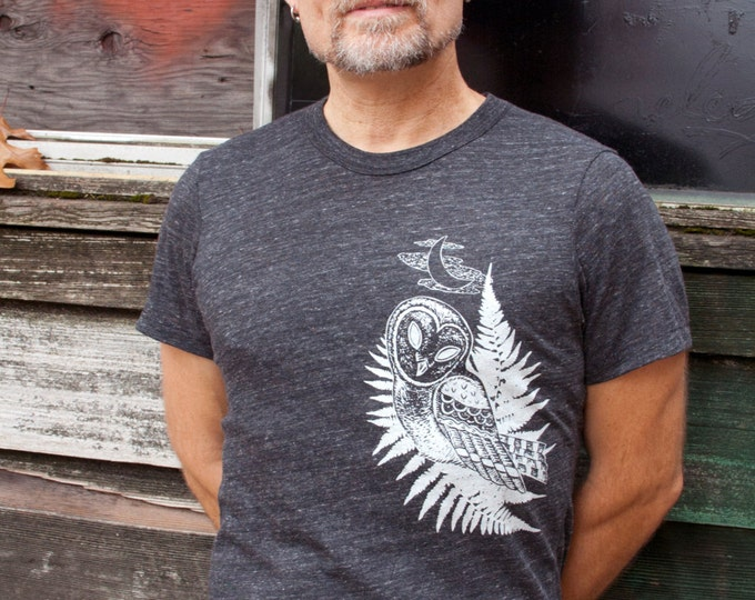 Graphic Tee Men, Printed Men Tee, Bird Shirt, Mens Bird Tshirt, Tri Blend, Mens Owl Shirt, Owl Tshirt, For Mens Shirt, Organic Mens Shirt
