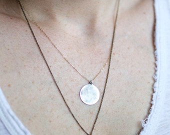 D U A L   D I S C S  Gold and Sterling {Personalized, Custom Layering Necklaces, Mixed Metals, Minimalist}
