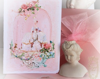 "Marie Antoinettes Spring Confiserie 5 x 7"" Folding Cards with Pink Shimmer Metallic Envelopes Set of 6"