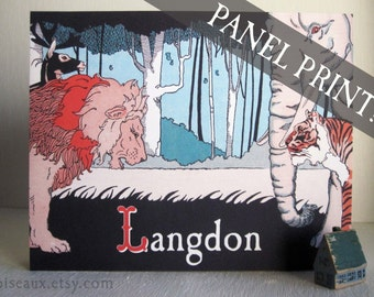 Jungle PANEL PRINT - Personalized Vintage Wall Art - Children's Room Decor, Ready to Hang