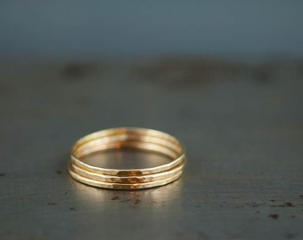 Recycled Gold Rings, Solid 14k Gold Ring, Eco Friendly Jewelry, Stacking Thin Rings
