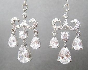 Chandelier Clip-on Earrings, Rhinestone Bridal Clip Earrings, Silver Ear Clips, Sparkling Faceted Teardrops, Formal Clips, Gala