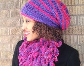 Textured Slouchy Rasta Hat and Loopy Scarf - special order- purple and Pink or ask about colors